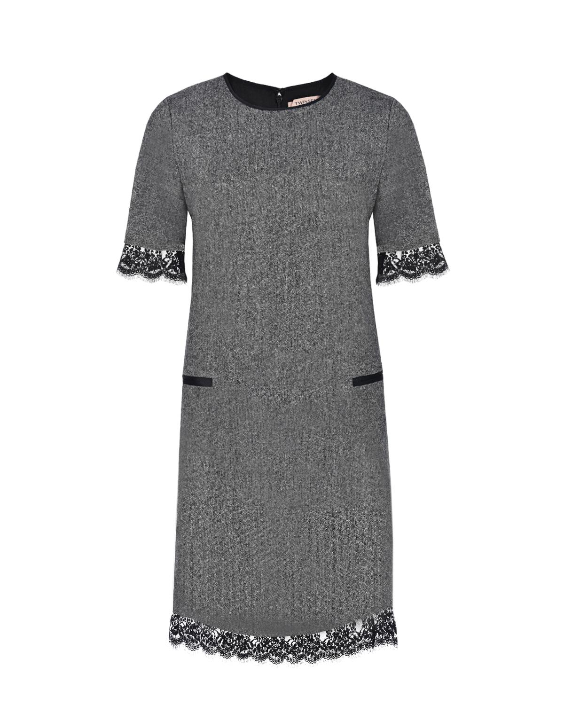 Купить Серое платье из твида TWINSET, Серый, 39%акрил+27%полиэстер+24%шерсть+5%другие волокна+4%шелк+1%эластан, 100%полиэстер, 80%хлопок+20%полиамид, 68%ацетат+32%полиэстер