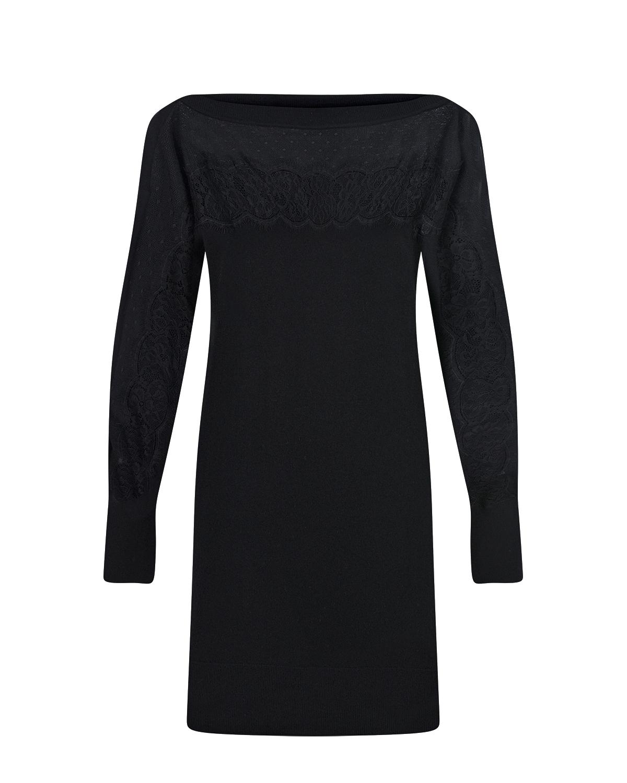 Черное платье с кружевной отделкой TWINSET, Красный, 44% вискоза+40% полиамид+13% шерсть+3% эластан, 100% полиэстер, 100% полиамид  - купить со скидкой