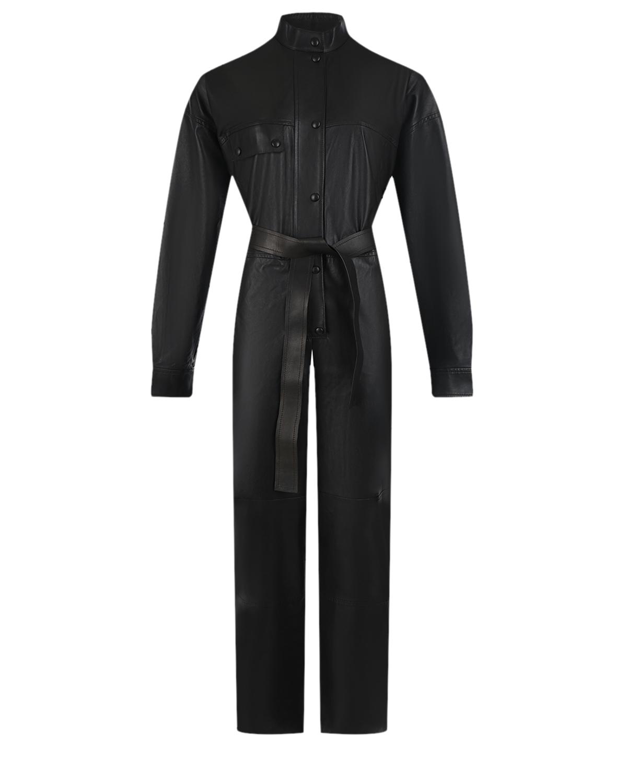 Купить Кожаный комбинезон черного цвета Yves Salomon, Черный, 100% кожа, 100% шелк