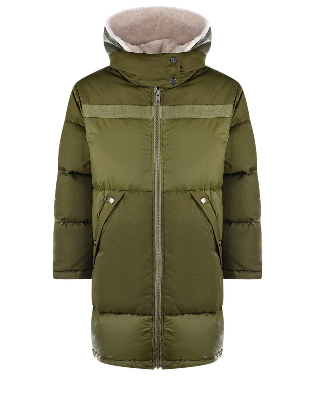 Купить Зеленая куртка с меховой отделкой Yves Salomon детская, Мультиколор, 100%овчина, 97%полиэстер+3%эластан, 95%пух+5%перо, 100%полиэстер, 100%полиамид