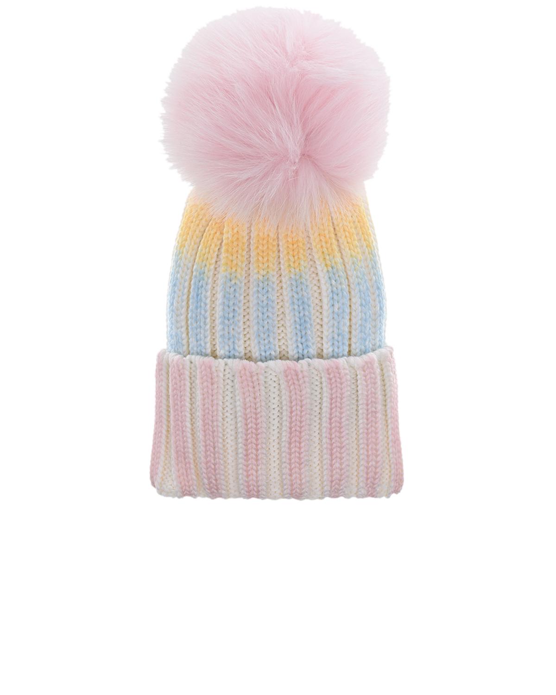 Купить Шерстяная шапка с узором в полоску Regina детская, Мультиколор, 100%шерсть, мех Лисы