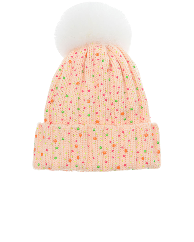 Купить Шерстяная шапка с радужными стразами Regina детская, Розовый, 100%шерсть, мех Лисы