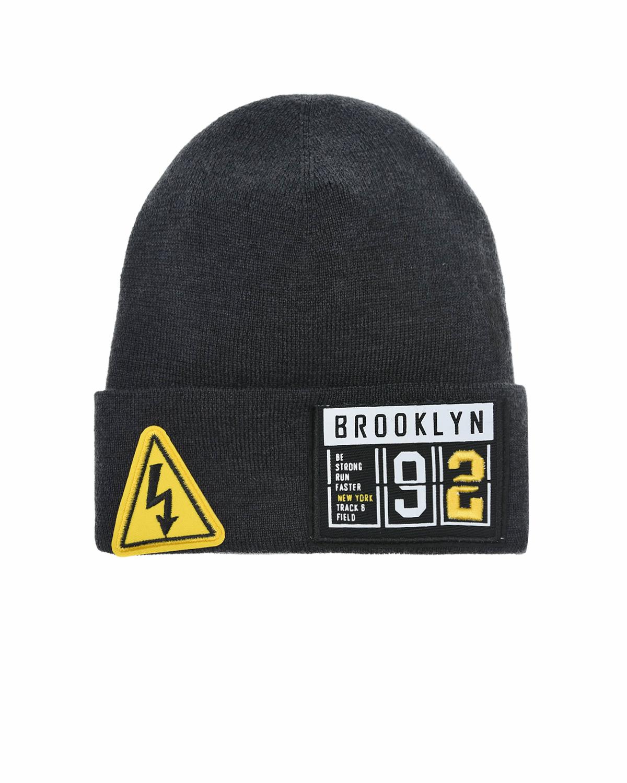 Купить Темно-серая шапка с патчем Brooklyn Regina детское, Серый, 100%шерсть