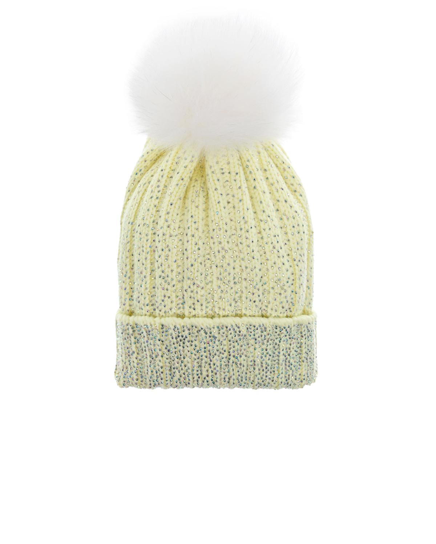 Купить Шерстяная шапка с декором стразами Regina детская, Желтый, 100%шерсть, мех Лисы