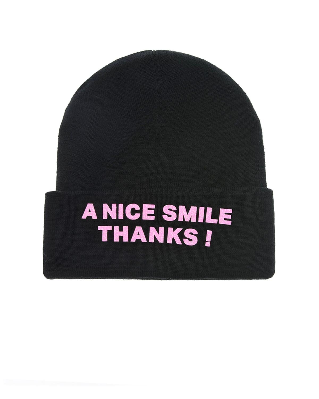 Купить Шерстяная шапка с патчем А nice smile thanks Regina детская, Черный, 100%шерсть