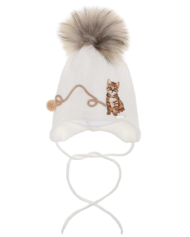 Купить Шерстяная шапка с декором котенок и клубок Il Trenino детская, Белый, 100%шерсть, 100%хлопок, нат.мех