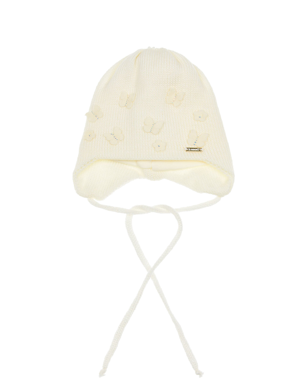 Купить Шерстяная шапка с декором бабочки Il Trenino детская, Кремовый, 100%шерсть. 100%хлопок