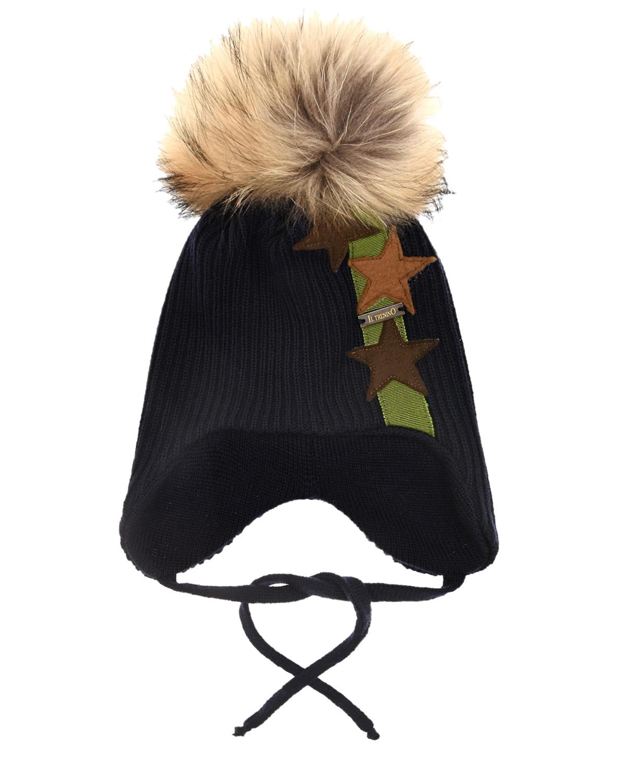 Купить Шерстяная шапка с патчами звезды Il Trenino детская, Синий, 100%шерсть, мех Енота