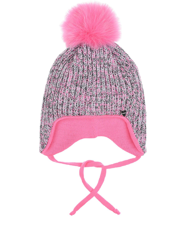 Купить Шерстяная шапка с розовым меховым помпоном Il Trenino детская, Розовый, 100%шерсть, нат.мех