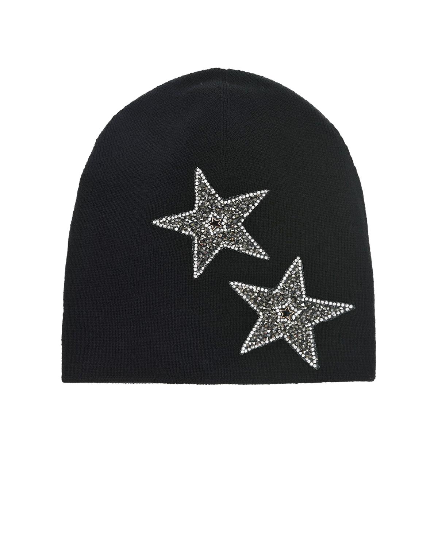 Купить Шерстяная шапка с декором звезды Regina детская, Черный, 100%шерсть