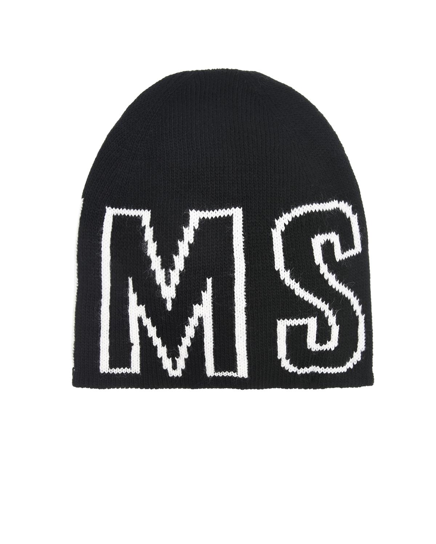 Купить Черная шапка с логотипом MSGM детская, Черный, 80%акрил+10%шерсть+5%альпака+5%район