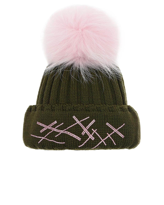 Шерстяная шапка с отделкой бисером Joli Bebe детская, Хаки, 100%шерсть, 100%натуральный мех  - купить со скидкой
