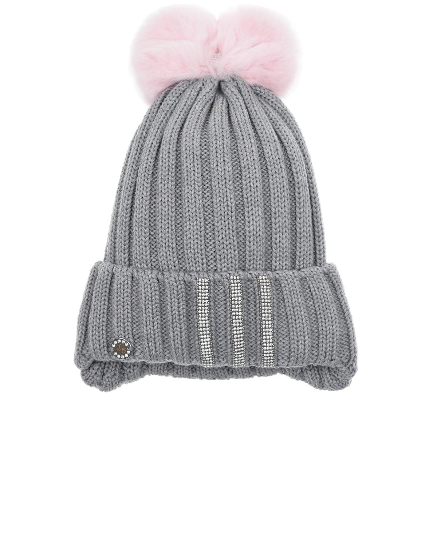Купить Серая шерстяная шапка с меховым помпоном Joli Bebe детская, Серый, 100%шерсть, 100%хлопок, 100%натуральный мех