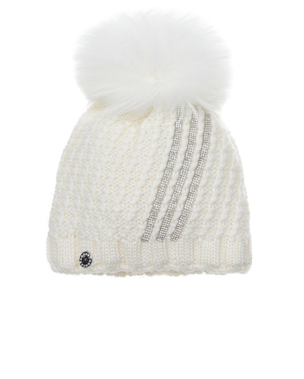 Купить Вязаная шапка с отделкой стразами Joli Bebe детская, Белый, 100%шерсть, 100%хлопок, 100%натуральный мех