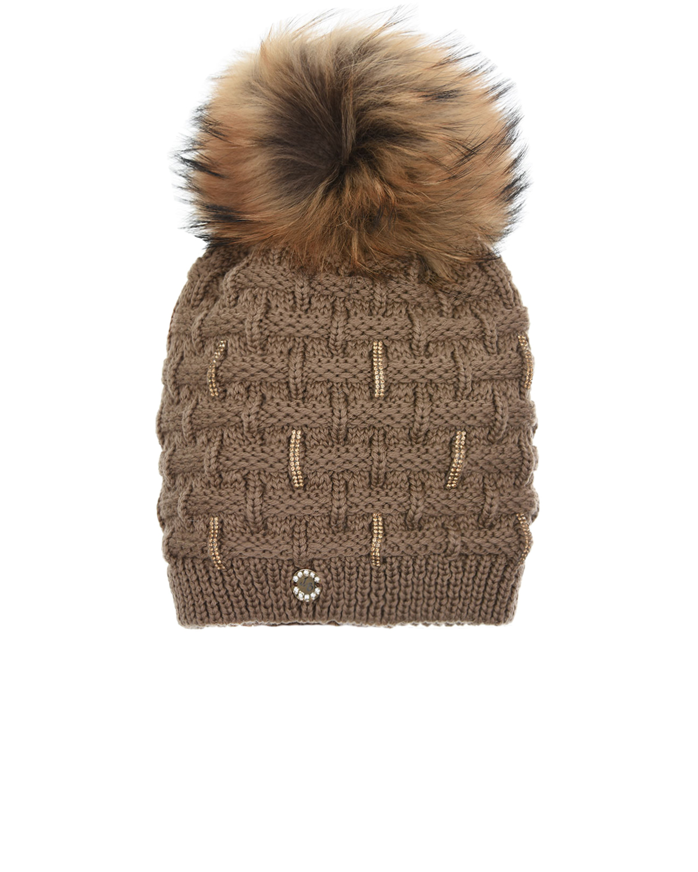 Купить Коричневая шапка с отделкой стразами Joli Bebe детская, Бежевый, 100%шерсть, 100%натуральный мех
