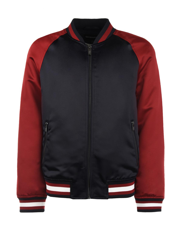 Купить Двухцветная куртка-бомбер Emporio Armani детская, Мультиколор, 100%полиэстер, 98%полиэстер+2%эластан, 10%полиэстер. 100%полиамид