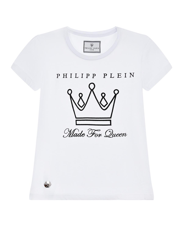 футболка с принтом philipp plein для девочки