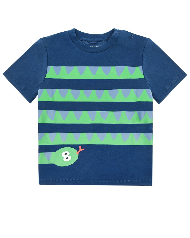"""Синяя футболка с принтом """"Змейка"""" Stella McCartney детская"""