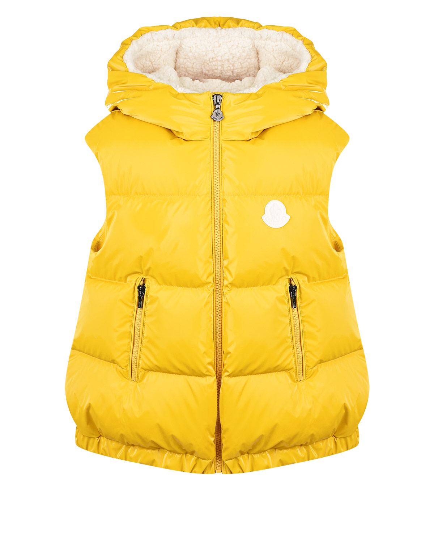 Купить Желтый жилет с капюшоном Moncler детский, 100%полиэстер, 100%полиамид, 90%пух+10%перо