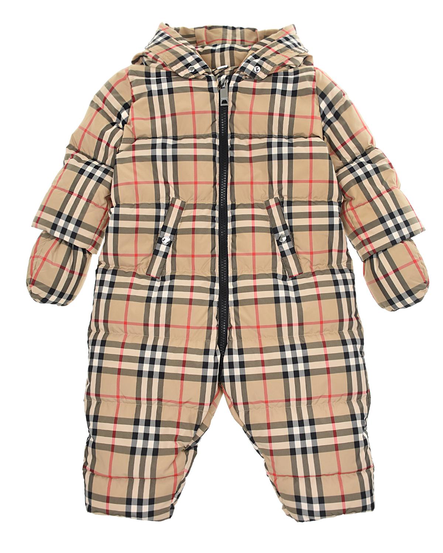 Бежевый комбинезон в клетку Vintage Check Burberry детский, 100%полиэстер, 100%хлопок, 89%хлопок+10%полиамид+1%эластан, 80%пух+20%перо,  - купить со скидкой