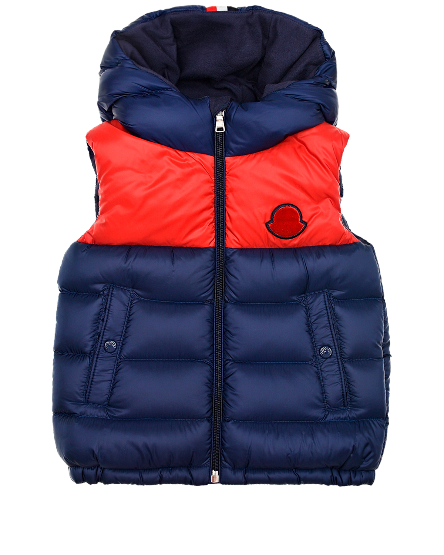 Купить Красно-синий пуховый жилет Moncler детское, Синий, 100% полиамид, 90% пух+10% перо, 100%хлопок