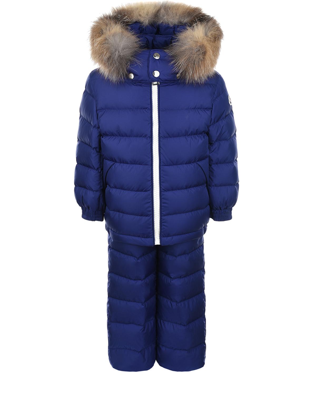 Купить Зимний комплект синего цвета Moncler детский, Синий, 100%полиамид, 100% полиамид, 90%пух+10%перо, мех Лисы