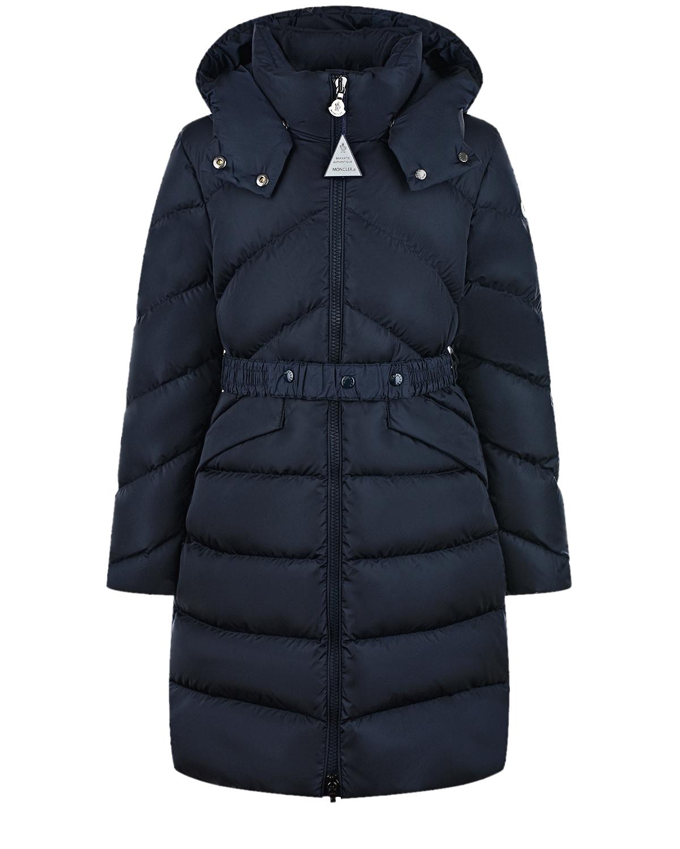 Купить Синее стеганое пальто-пуховик Moncler детское, Синий, 100%полиамид, 90%пух+10%перо