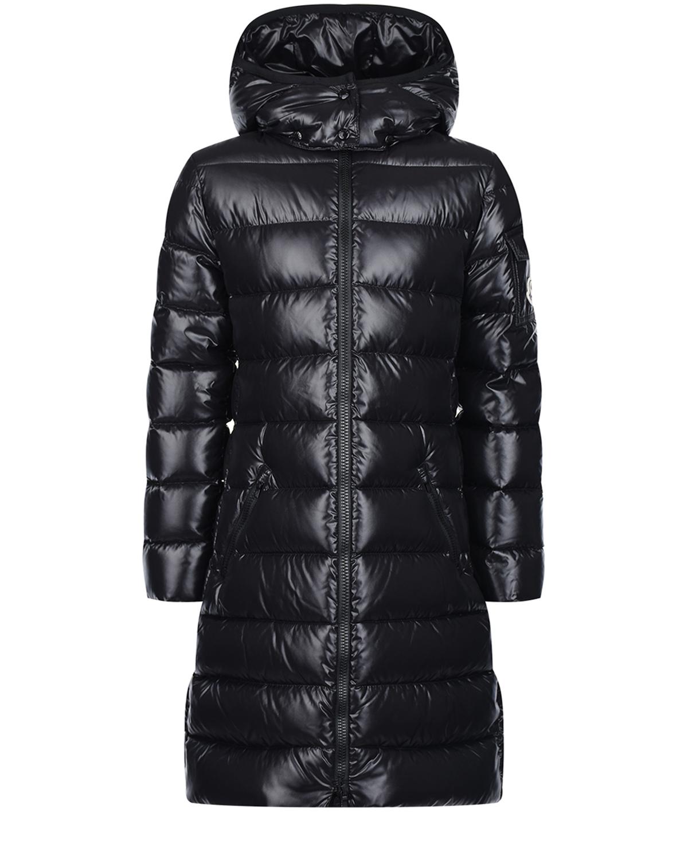 Купить Черное глянцевое пальто-пуховик Moncler детское, Черный, 100%полиамид, 90%пух+10%перо