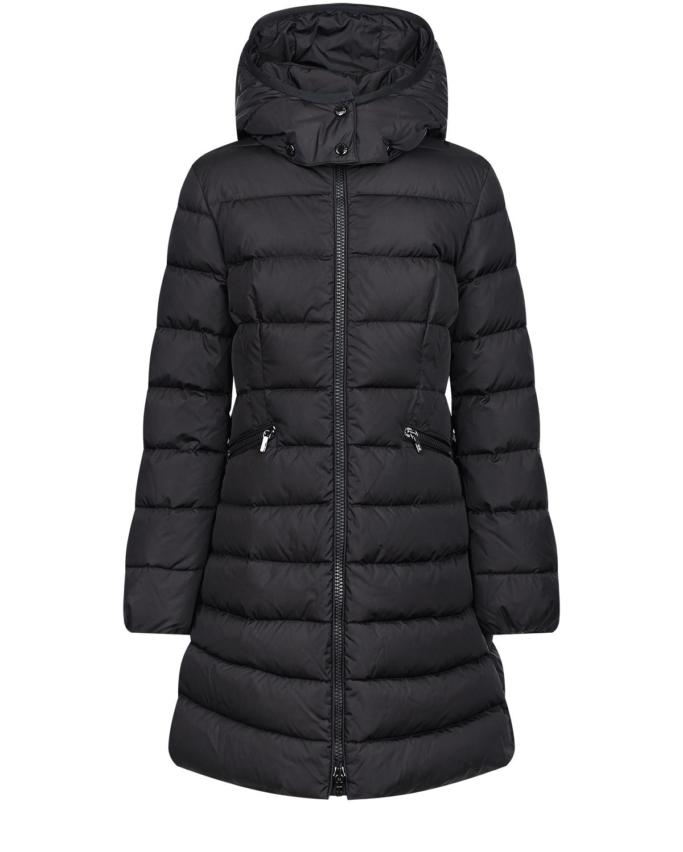 Купить Черное пальто-пуховик Moncler детское, Черный, 100%полиамид, 90%пух+10%перо