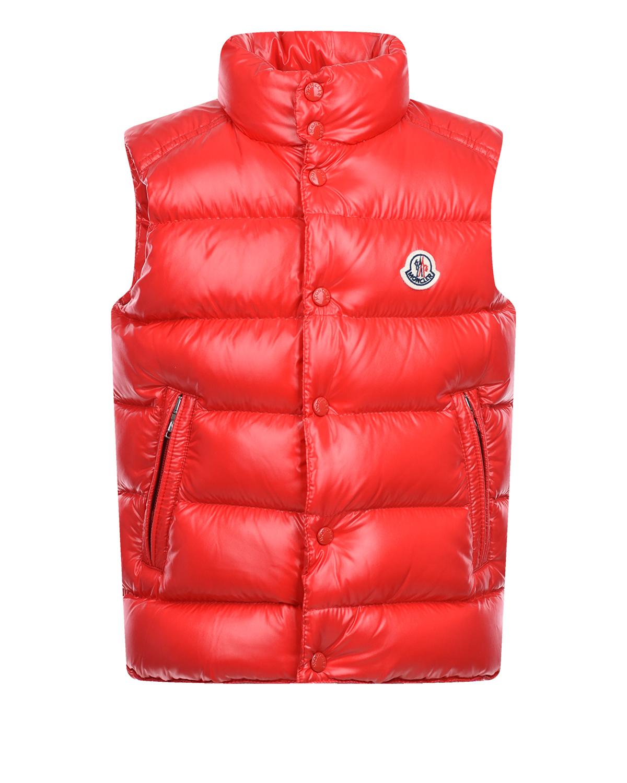 Купить Красный стеганый жилет Moncler детский, 100%полиамид, 90%пух+10%перо