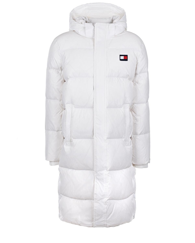 Купить Белое пальто-пуховик с капюшоном Tommy Hilfiger детское, Белый, 100%полиэстер, 98%полиэстер+2%эластан, 70%пух+30%перо, 100%полиамид