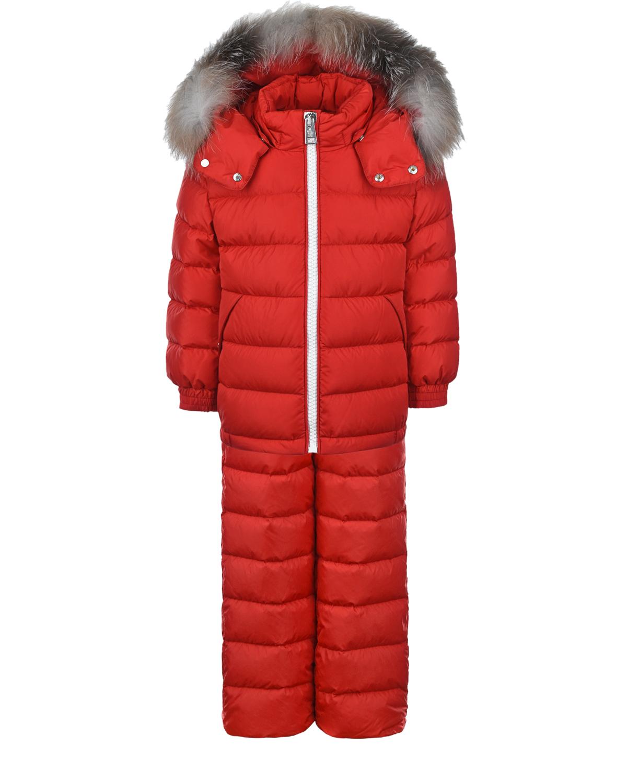 Купить Красный зимний комплект для мальчиков Moncler детский, 100%полиамид, 100% полиамид, 90%пух+10%перо, мех лисы