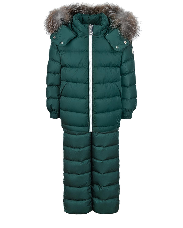 Купить Зеленый зимний комплект для мальчиков Moncler детский, 100%полиамид, 90%пух+10%перо, мех лисы