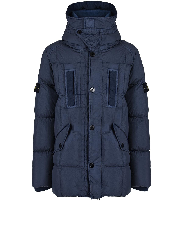 Удлиненная синяя куртка с капюшоном Stone Island детская.