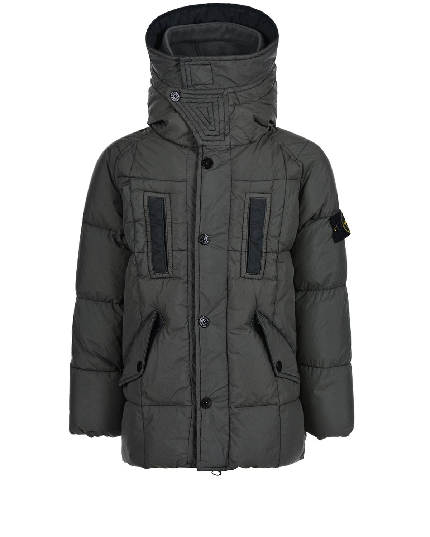 Удлиненная серая куртка с капюшоном Stone Island детская.