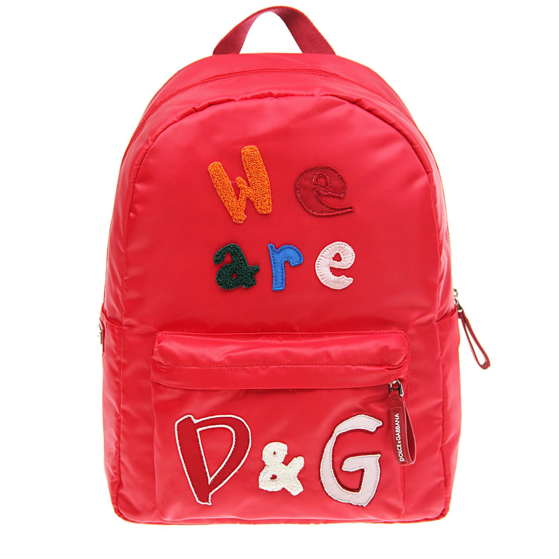 Купить Красный рюкзак с логотипом 35х28х18 см Dolce&Gabbana детский, 94%полиэстер+4%полиуретан+2%хлопок