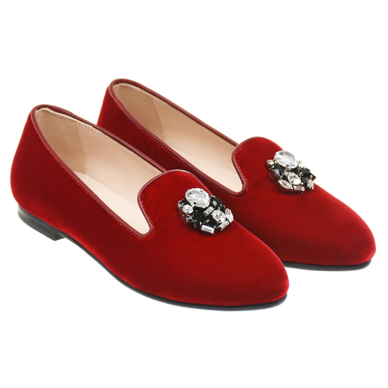 Купить Красные слипперы со стразами IL Gufo Shoes детские, Красный, верх:98%текстиль(65%вискоза+ 35%купро)+2%нат.кожа, подкладка и стелька:100%нат.кожа, подошва:100%резина