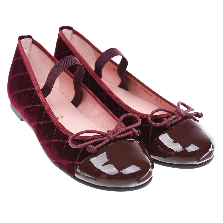Купить Бордовые стеганые туфли Pretty Ballerinas детские, Бордовый, Верх:100%нат.кожа, 100%текстиль(59%хлопок+41%полиэстер), подкладка:100% кожа, стелька:100%нат.кожа, подошва:100% резина