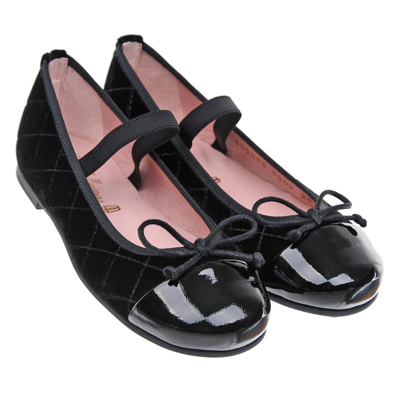 Купить Черные велюровые туфли Pretty Ballerinas детские, Черный, Верх:100%нат.кожа, 100%текстиль(59%хлопок+41%полиэстер), подкладка:100% кожа, стелька:100%нат.кожа, подошва:100% резина