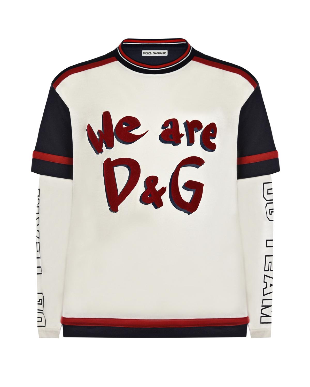 Купить Толстовка с принтом We are D&G Dolce&Gabbana детская, Мультиколор, 100%хлопок, 96%хлопок+4%эластан, 25%полиуретан+75%ПВХ