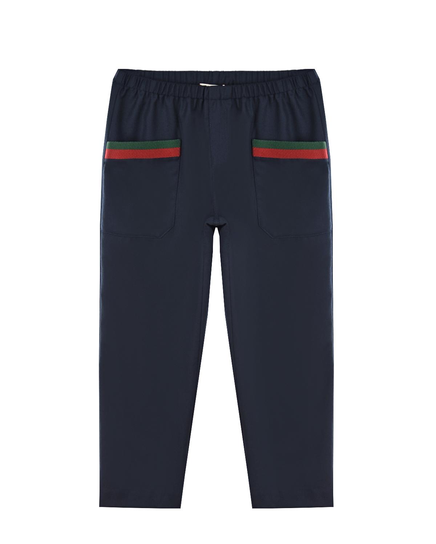 Купить Классические брюки из шерсти GUCCI детские, Синий, 100%шерсть, 46%акрил+46%шерсть+8%полиэстер, 100%купро
