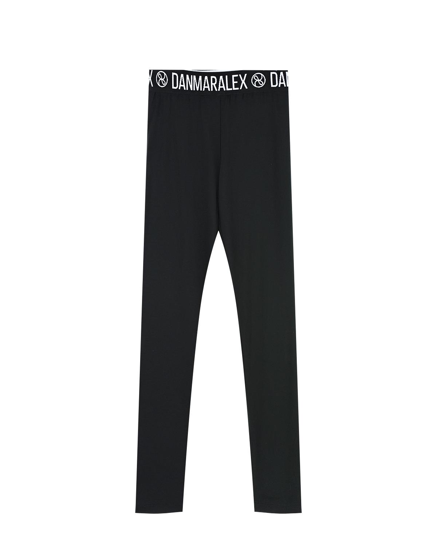 Купить Черные леггинсы с логотипом на резинке Dan Maralex детские, Черный, 88%модал+12%спандекс
