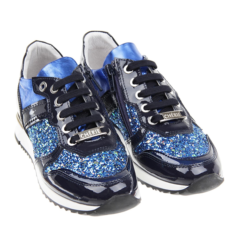 Кожаные кроссовки с глиттеромКроссовки<br><br>