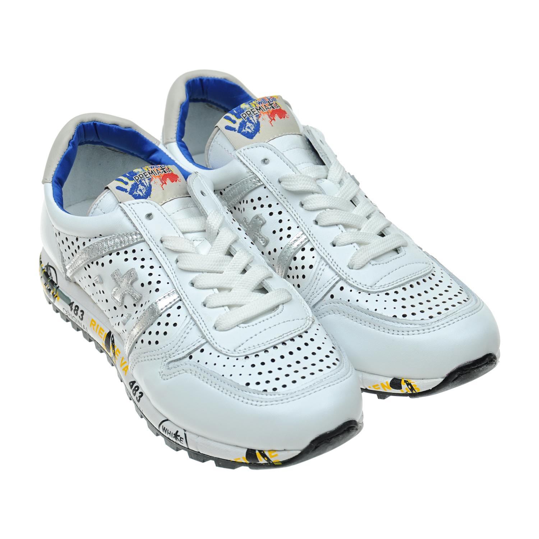 Белые кожаные кроссовки с перфорациейКроссовки<br><br>